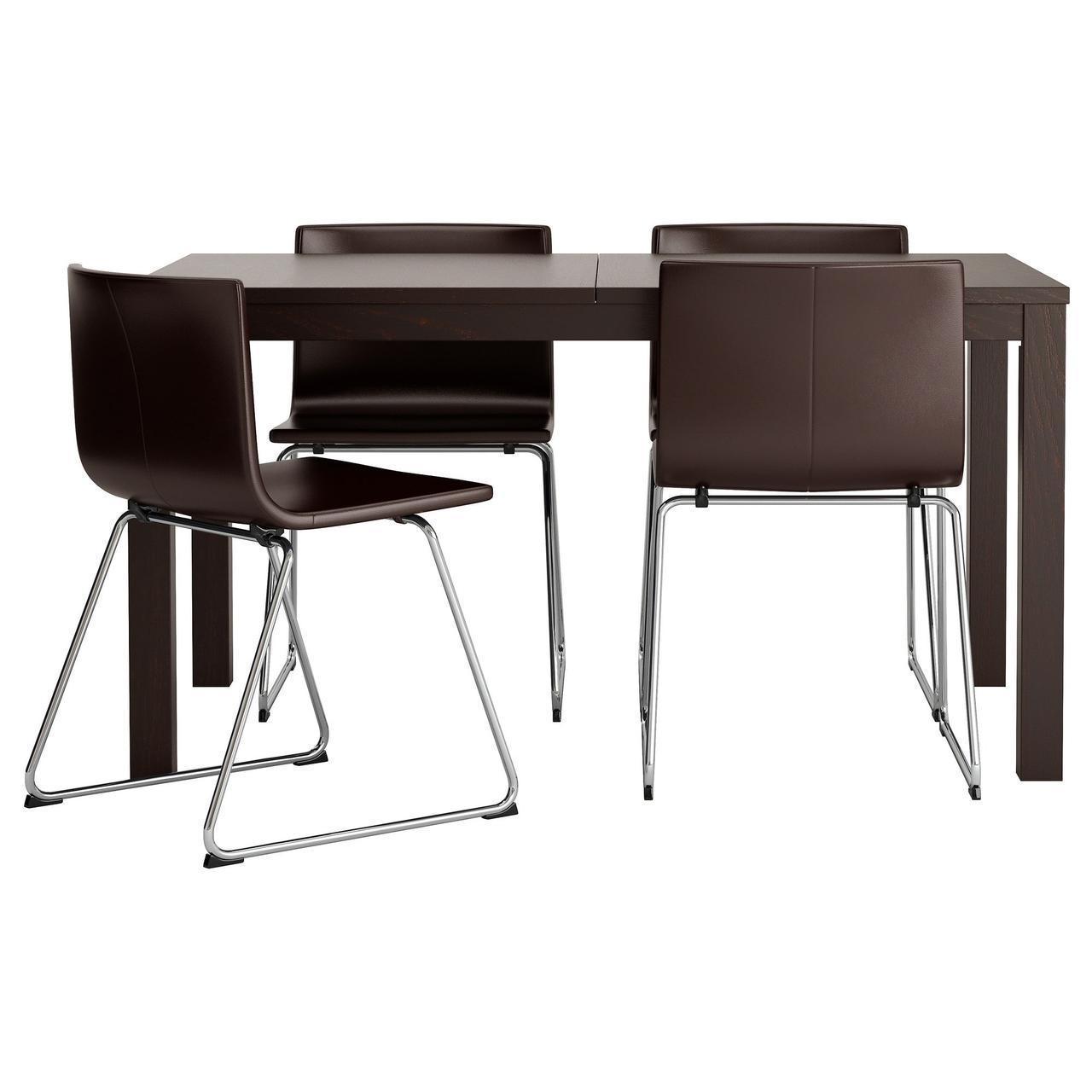 Комплект для кухни (стол и 4 стула) IKEA BJURSTA / BERNHARD 140 см коричневый 298.855.56