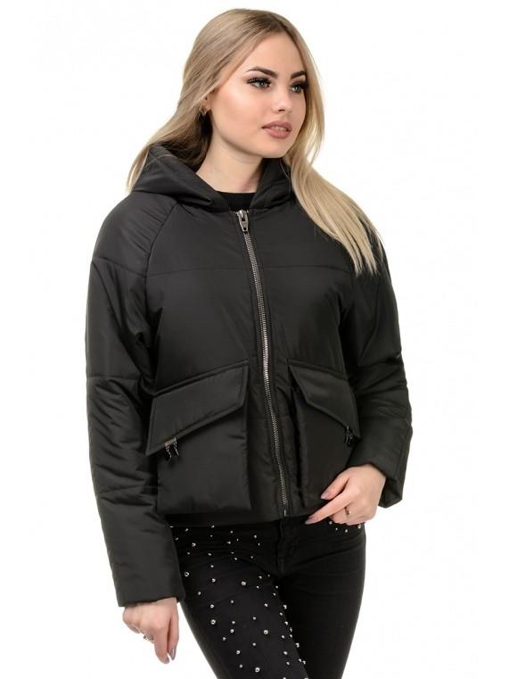 e8e47535b96 Черная женская весенняя куртка с карманами - Интернет-магазин одежды и  аксессуаров в Киеве