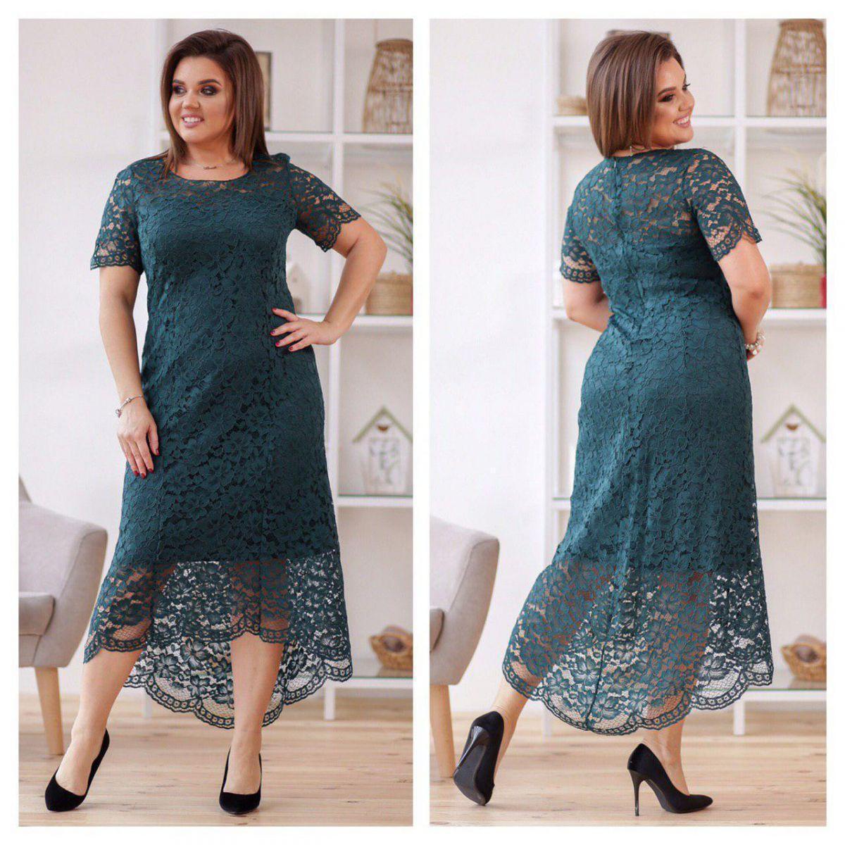 a666843cec4 Нарядное зеленое гипюровое платье 50