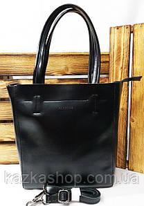 Женская сумка из натуральной кожи черного цвета на один отдел с длинным регулируемым плечевым ремнем