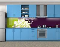Кухонный фартук Георгины, Самоклеящаяся стеновая панель для кухни, Цветы, фиолетовый