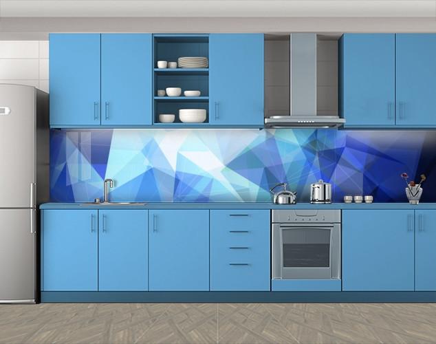 Кухонный фартук Треугольники Геометрия, Самоклеящаяся скинали с фотопечатью, Абстракции, синий