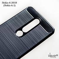 """Противоударный TPU чехол накладка для Nokia 6 2018 (Nokia 6.1) (black """"Carbon"""")"""