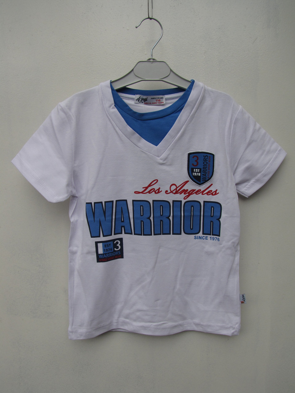 Белая футболка для мальчиков 116,122,128,134,140 роста Warrior A-yugi