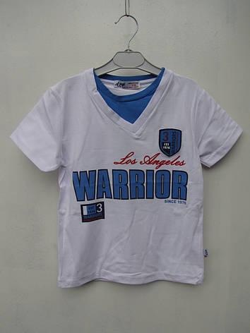 Белая футболка для мальчиков 116,122,128,134,140 роста Warrior A-yugi, фото 2