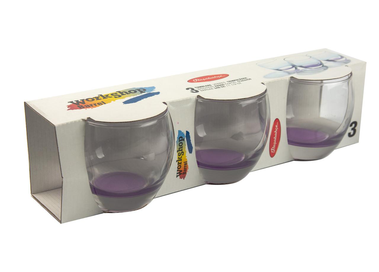 Набор стаканов (3 шт) Barrel 0,34л Прозрачный, Фиолетовый
