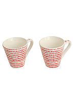 Набір кавових чашок (2 шт) Penny 0,075 л Білий, Червоний