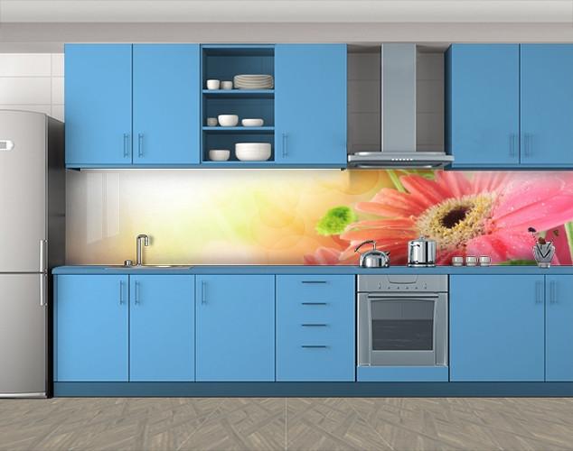Кухонный фартук Герберы в солнечных лучах, Самоклеящаяся скинали с фотопечатью, Цветы, розовый, 600*3000 мм