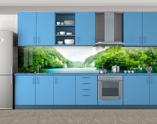Кухонный фартук Зеленые холмы Тайланда, Самоклеящаяся стеновая панель для кухни, Природа, зеленый, 600*3000 мм