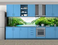 Кухонный фартук Зеленые холмы Тайланда, Самоклеящаяся стеновая панель для кухни, Природа, зеленый, 600*3000 мм, фото 1
