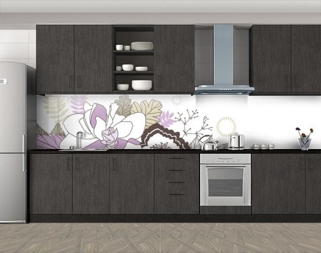Кухонный фартук Нарисованный букет, Скинали с фотоизображением на самоклеящейся пленке, Цветы, белый