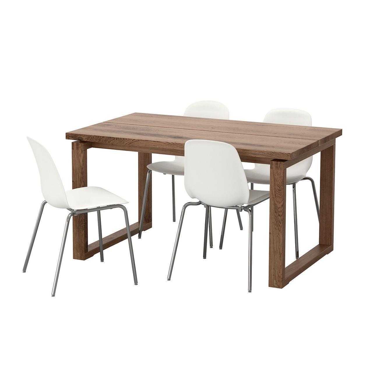 Комплект для кухни (стол и 4 стула) IKEA MÖRBYLÅNGA / LEIFARNE 140x85 см коричневый белый 192.460.97