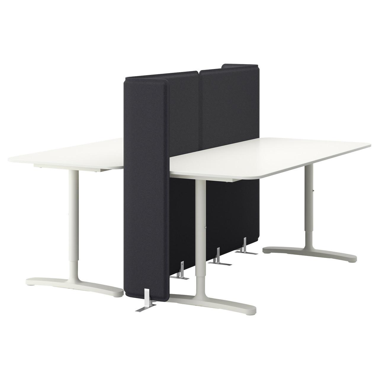 Комбинация 2-х столов для офиса IKEA BEKANT с экраном и регулируемой высотой белый 690.470.57