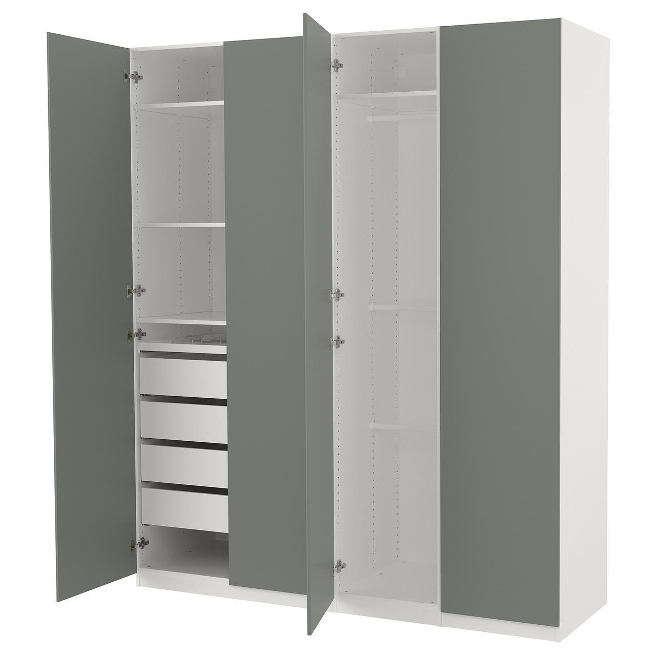 Шкаф IKEA PAX Reinsvoll белый серо-зеленый 492.758.18