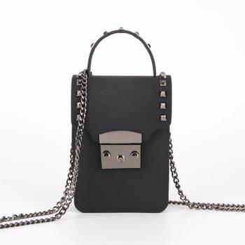 Модная маленькая женская сумка. Сумка женская мини на цепочке (черная)