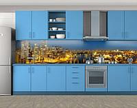 Кухонный фартук Золотые огни города с мостом, Самоклеящаяся стеновая панель для кухни, Город ночью, желтый