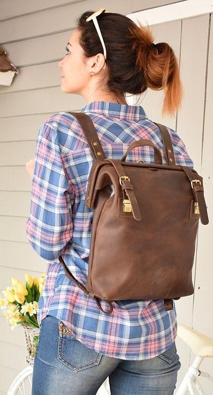 Женский кожаный рюкзак Babak 897051 7 л, коричневый