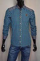 Мужская рубашка с длинным рукавом и джинсовыми вставками бирюзовая клетка Турция 2077