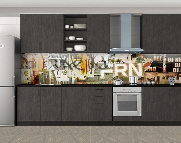 Кухонный фартук Ретро граффити, Стеновая панель с фотопечатью, Текстуры, фоны, бежевый