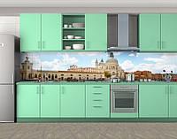Кухонный фартук Купола и стена, Кухонный фартук на самоклеящееся пленке с фотопечатью, Город днем, голубой, 600*3000 мм