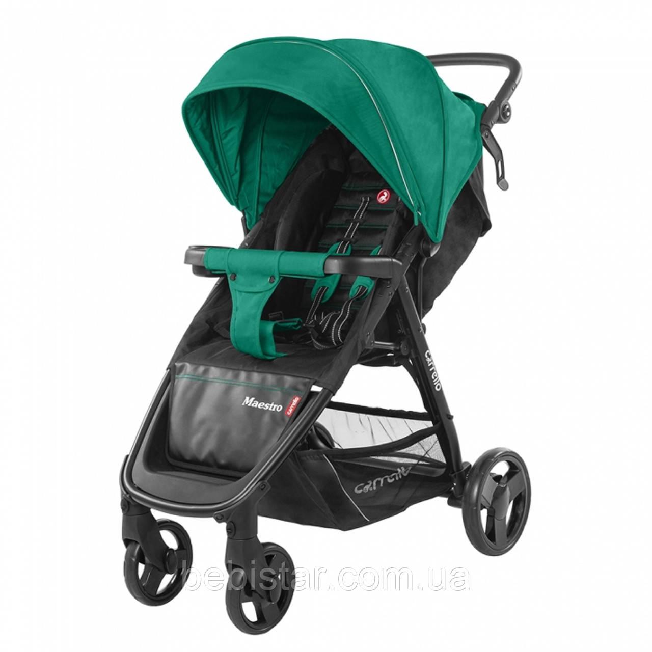 Детская прогулочная коляска зеленая Carrello Maestro черная рама чехол на ножки подстаканник дождевик