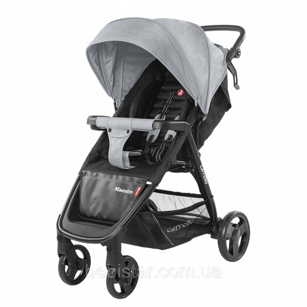 Детская прогулочная коляска серая CARRELLO Maestro CRL-1414 Pearl Grey с дождевиком