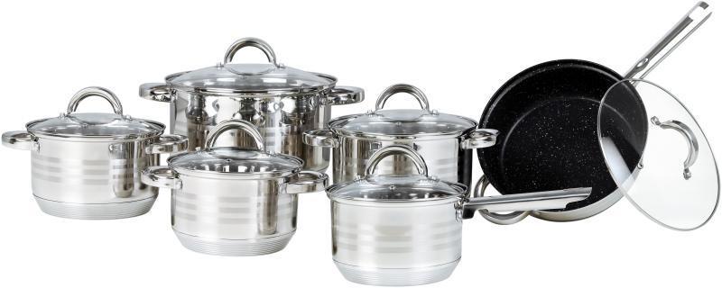 Большой набор посуды Bohmann BH-0922 кухонный комплект нержавеющая сталь 12 предметов