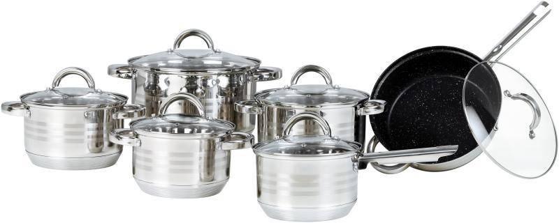 Большой набор посуды Bohmann BH-0922 кухонный комплект нержавеющая сталь 12 предметов, фото 2