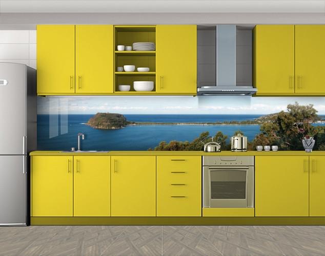 Кухонный фартук Морские острова, Кухонный фартук с фотопечатью, Море, пляж, синий