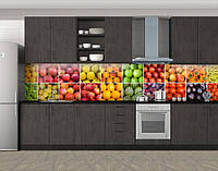 Кухонный фартук Раскладка фруктов и овощей, Стеновая панель для кухни с фотопечатью, Еда, напитки, оранжевый