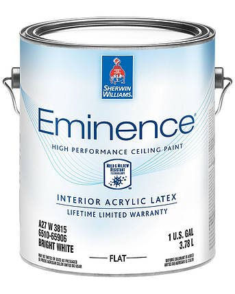 Краска Eminence Flat Sherwin-Williams ярко белая интерьерная глубокоматовая, 3,78л (эминенс для потолка), фото 2