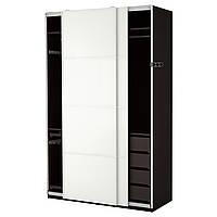 Шкаф IKEA PAX Färvik белое стекло черно-коричневый 890.292.22