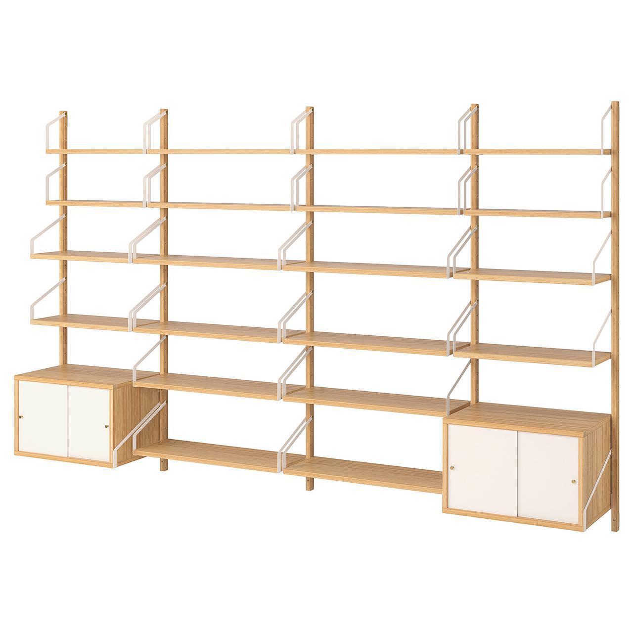 Комбинация настенных полок IKEA SVALNÄS 297x35x176 см бамбук светло-коричневый белый 591.844.41