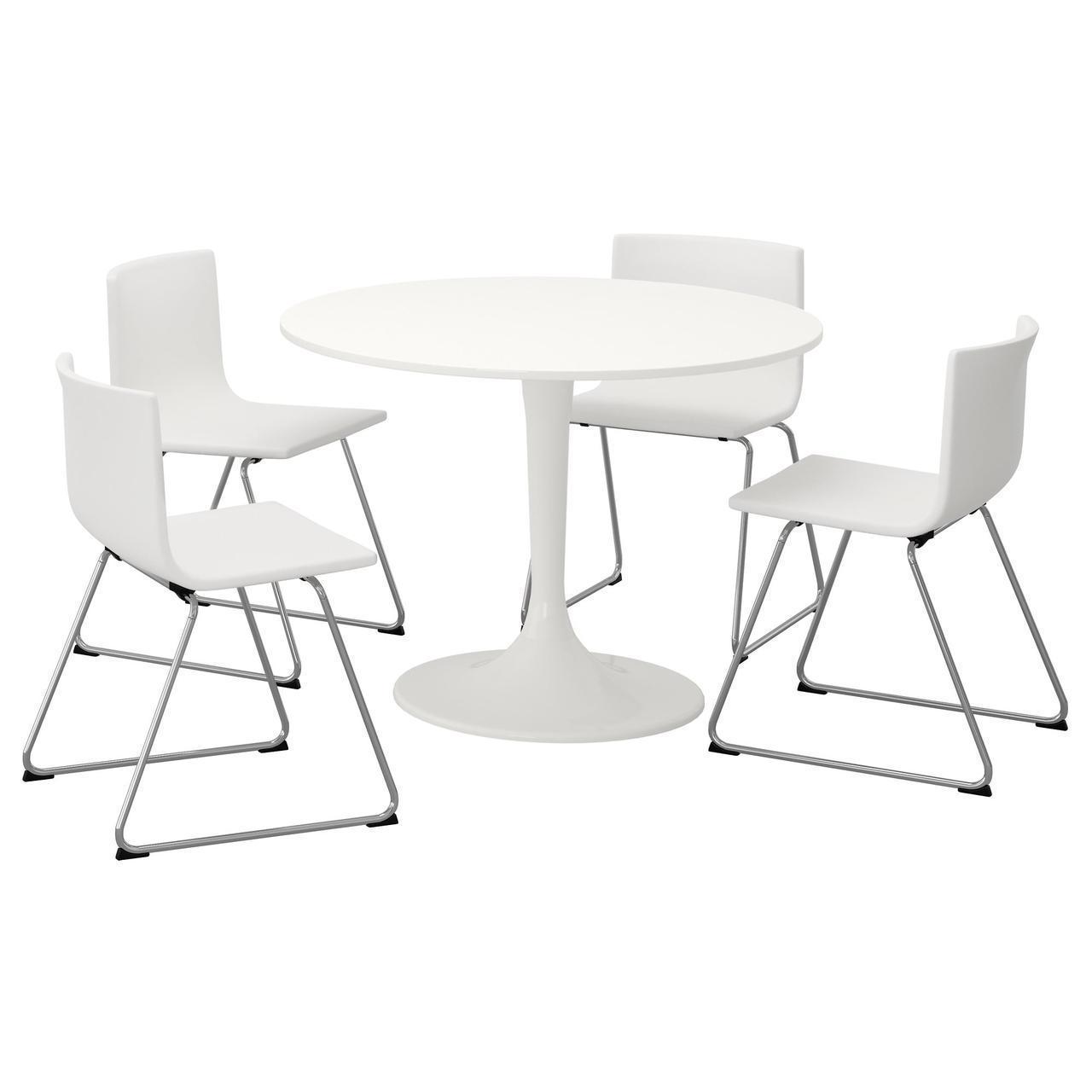 Комплект для кухни (стол и 4 стула) IKEA DOCKSTA / BERNHARD 105 см белый 192.297.95