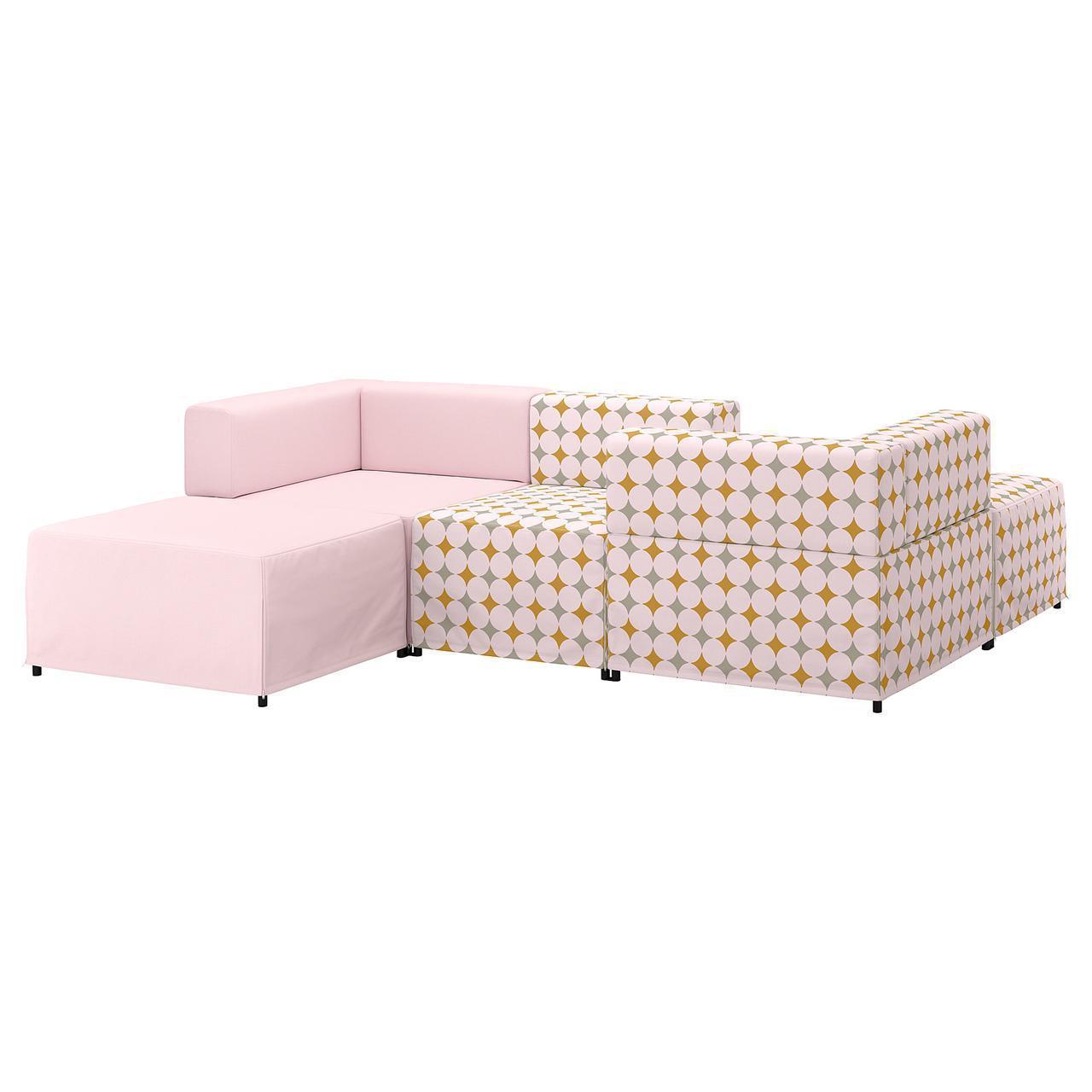 Диван IKEA KUNGSHAMN модульный 3-местный Idekulla розовый Yttered разноцветный 392.750.79