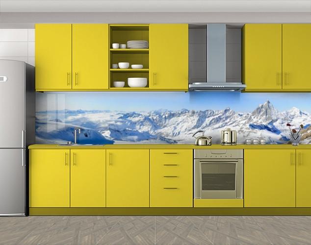 Кухонный фартук Снежные горы, Стеновая панель с фотопечатью, Природа, голубой