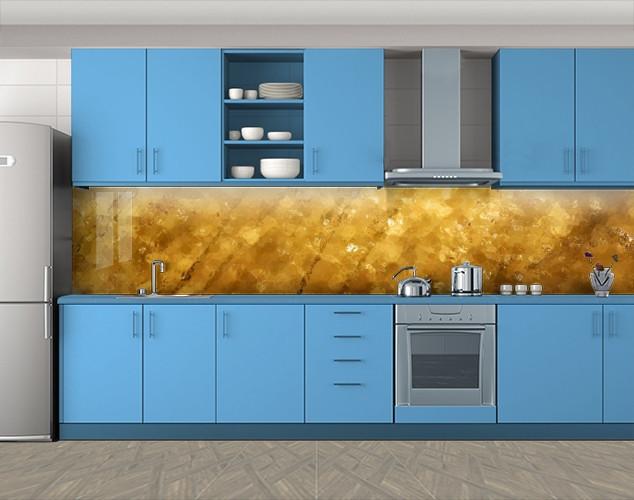 Кухонный фартук Янтарь, Самоклеящаяся скинали с фотопечатью, Текстуры, фоны, бежевый, 600*3000 мм