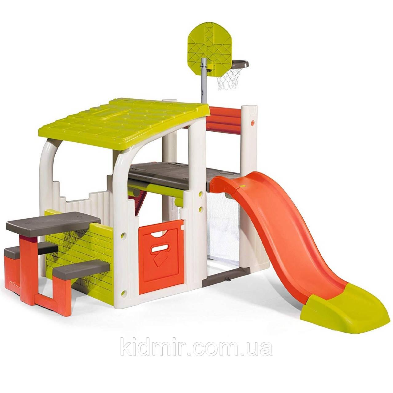 Игровой комплекс Центр Развлечений с корзиной, воротами и горкой Fun Center Smoby 840203