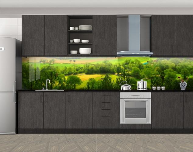 Кухонный фартук Сочные поля и деревья, Стеновая панель с фотопечатью, Природа, зеленый