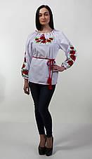 Вышитая женская блуза с красными маками , фото 2