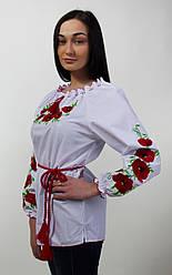 Вышитая женская блуза с красными маками