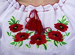 Вышитая женская блуза с красными маками , фото 3