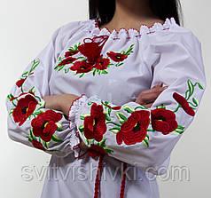 Вишита жіноча блуза з червоними маками, фото 2