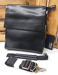 Мужская сумка Polo черного цвета с кожаным клапаном на три отдела, два ремешка длинный и короткий