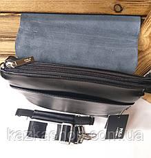 Мужская сумка Polo черного цвета с кожаным клапаном на три отдела, два ремешка длинный и короткий, фото 2