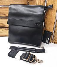 Мужская сумка Polo черного цвета с кожаным клапаном на три отдела, два ремешка длинный и короткий, фото 3