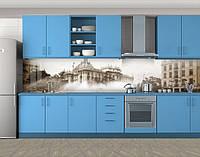 Кухонный фартук Ретро фото города, Наклейка на кухонный фартук, Архитектура, серый