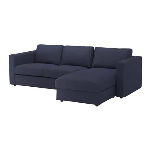 Диван 3-местный с кушеткой / шезлонгом IKEA VIMLE Orrsta темно-синий 892.070.16