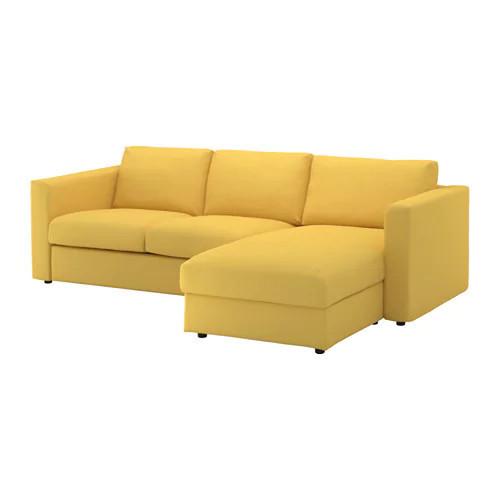 Диван 3-местный с кушеткой / шезлонгом IKEA VIMLE Orrsta желтый 892.070.21