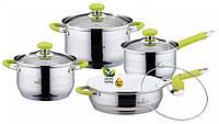 Комплект посуды BOHMANN BH-08-435 качественный кухонный набор с прорезиненные ручки 8 предметов